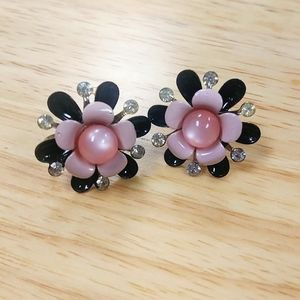 Jewelry - Pink & Black Enamel Flower Screw Back Earrings